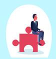 businessman sitting puzzle piece problem solution vector image