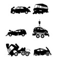 car silhouettes after an accident vector image vector image
