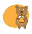 Cartoon cute bear with pot of honey vector image vector image