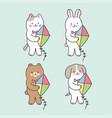 cartoon cute summer animals and kite