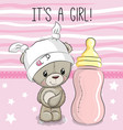 cartoon teddy bear with feeding bottle vector image vector image