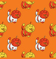 cat astronaut seamless pattern vector image