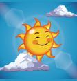 character sun cute face close eyes - cartoon in vector image