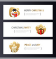 christmas horizontal banners set with gold vector image