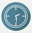clock icon on white circle with a long shadow vector image vector image
