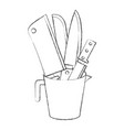 container with knives monochrome blurred vector image vector image