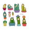 cute cartoon cactus and succulents in pots vector image