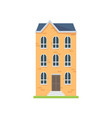 cute yellow house with three floors and blue roof vector image vector image