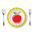 cutlery with measuring tape and apple vector image vector image