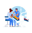 dentist patient doctor specialist and assistant vector image vector image