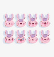 emojis kawaii cartoon faces cute pink rabbit vector image vector image
