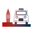 english taxi service and big ben symbol vector image vector image