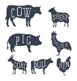 farm animals set icons collection vector image