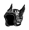 fear nothing hand drawn winged racer helmet with vector image vector image