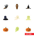 flat icon celebrate set of pumpkin tomb witch vector image vector image