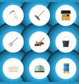 flat icon dacha set of harrow container hay fork vector image vector image
