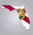 florida fl state map shape with flag vector image vector image