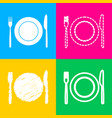 fork knife and plate sign four styles of icon on vector image vector image