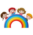 four kids and colorful rainbow vector image