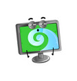 funny lcd monitor cartoon character vector image vector image