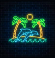 glowing neon summer sign with palms sun island vector image vector image