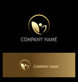 green leaf organic beauty spa gold logo vector image
