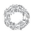 hand drawn christmas round wreath vector image vector image