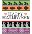 happy halloweeen with witchs hat cat bat vector image