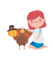happy thanksgiving day girl turkey pumpkin with vector image vector image