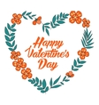 Happy Valentines Day floral heart card Vintage vector image vector image