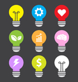 idea lamp colorful icon set flat style vector image