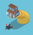 isometric house on the top of golden coin falling vector image vector image