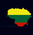 map of lithuania with flag as texture isolated on vector image