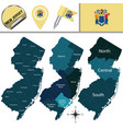 map of new jersey with regions vector image vector image