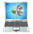 megaphone icon laptop concept vector image vector image