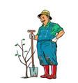 old gardener plants a seedling isolate on white vector image vector image