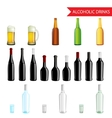 Realistic Alcoholic Drinks and beverages icon set vector image