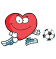 Red Heart Soccer Player Chasing A Ball vector image vector image