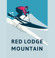 red lodge mountain poster design simple retro vector image