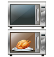 Roasted chicken in microwave oven vector image vector image