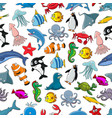 sea fishes animals cartoon seamless pattern vector image