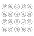 set round line icons of money vector image