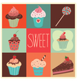 set sweet cupcakes vector image