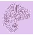 Steampunk style chameleon hand drawn vector image