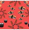 Sushi hand drawing background vector image