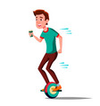 teen boy on hoverboard riding on gyro vector image