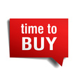 time to buy red 3d realistic paper speech bubble vector image vector image