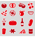 tomatoes theme red simple stickers set eps10 vector image vector image
