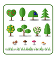 Tree icons set with mushrooms and grass