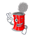 two finger tin can isolated on a mascot vector image